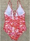 Frauen Badeanzug Badeanzug Bademode Tiefem V-Ausschnitt Lace Up Badeanzug Backless Printed Beachwear Monokini