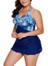 Sexy Frauen Tankini Set Badeanzug Gedruckt Gepolsterte Top Backless Hohe Taille Bademode Zweiteilige Badeanzug Blau