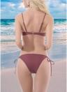 Sexy Frauen Lace Up Front Zwei Stück Bikini Set Solide Badeanzug Push Up Bra Tie Seiten Badeanzug Bademode