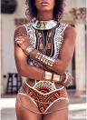 Costume da bagno intero di stampa etnica delle donne sexy scava fuori i costumi da bagno d'annata africani dell'Egitto Tankini
