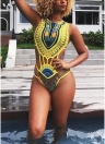 Sexy Frauen-ethnischer Druck-einteiliger Badeanzug höhlen Vintage afrikanische Ägypten-Badebekleidung Tankini aus
