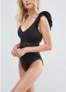 Frauen Badeanzug Bademode Spitze Rüschen Ärmeln Plunge Neck Backless Badeanzug Beachwear Monokini
