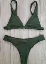 Frauen-Bikini Set Solid Triangle Cups Solid Leopard Gepolsterter Push-Up Niedrige Taille Sexy Zweiteiler Badeanzug
