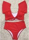 Conjunto de biquíni feminino Push Up Swimwear Fril Terno de banho de cintura baixa Complexo de banho acolchoado de duas peças Vestuário de praia Verde
