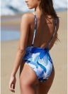 Women One Piece Bikini Swimwear Floral Print Backless Strappy Monokini Swimsuits Beach Wear