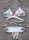 Sexy Femmes Bikini Ensemble Feuilles Imprimé Rembourré Haut Bas Bandage Plage Maillots de Bain Maillot de bain Maillot de Bain