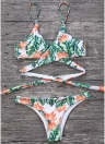 Sexy Women Bikini Set Leaves Print Padded Top Bottom Bandage Beach Swimwear Swimsuit Bathing Suit