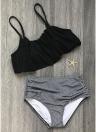 Mulheres Biquíni Ruffles High Cintura Ruched Padded Wireless Two Piece Swimsuit Swimwear