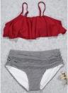 Costumi da bagno da donna a due pezzi senza cuciture imbottiti e increspati