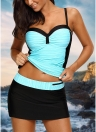 Mulheres Bikini Set Swimsuit Push Up Swimwear Contrast Beach Wear Traje de banho Plus Size Tankini Skirt Set