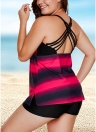 Sexy Women Bikini Tankini Set Halter Vendaje Cross Lacing Stripe Acolchado trajes de baño inalámbricos de dos piezas