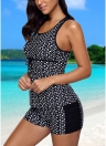 Mulheres Swimsuit Swimwear Tankini Top Shorts Set Dot Print Lace Racerback Banquete Suitwear Beach