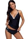 Frauen Bikini Set Badeanzug Push Up Bademode Lace Trim Beach Wear Badeanzug Plus Größe Tankini Set