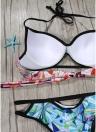 Frauen Bikini Set Geometrischer Druck Ausgeschnitten Niedrige Taille Halfter Gepolsterte Zweiteilige Badeanzug Bademode