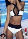 Mujeres atractivas Bikini Set Color Splice inalámbrico traje de baño trajes de baño de dos piezas