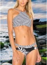 Sexy Women Brazilian Bikini Set Swimsuit Stripe Printed Swimwear Cut Out Bandage Padded Beach Wear Bathing Suit