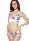 Costume da bagno donna con stampa floreale Bikini Set scollato costume da bagno a vita bassa Costume da bagno due pezzi Beach Wear Bianco