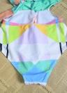 Costume da bagno sexy da donna con scollo a barchetta Stampa geometrica Costume da bagno scollo profondo con scollo av senza schienale Bikini da bagno Costume da bagno spiaggia blu