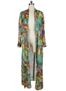 Sexy Frauen Chiffon Bikini Vertuschen Blumendruck Bohemien Cardigan Kimono Lose Oberbekleidung Beachwear Grün / Blau