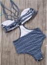 Costumi da bagno donna Costumi da bagno Costumi da bagno Stampa floreale Allacciatura Scava fuori Costume da spiaggia a contrasto Tuta da bagno Monokini Blu scuro