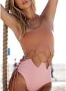 Frauen-einzelne Schulter-einteiliger Normallack-Badeanzug