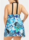 Women One-piece Swimsuit Skirted Swimwear Printed Padded Push-Up Plus Size Bathing Suit