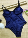 Costume da bagno intero push-up in velluto con ferretto da donna sexy