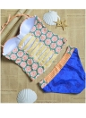 Sexy Frauen Bikini Set Floral Geometric Print Bügel Push Up Badeanzug