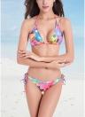 Frauen Halter Bikini Floral Blatt Serpentin Muster Print Bademode Badeanzüge