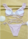 Sexy Women Swimwear Ruffles Bandage Bikini Set Swimsuit