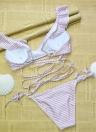Sexy Women Swimwear Ruffles Bandage Bikini Set Swimsuit