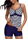 Sexy Women Stripe Plus Size Top+Short Tankini