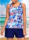 Sexy Frauen Blumendruck Plus Size Tankini Badeanzug Top + Short Bademode