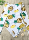 Sexy Women Pineapple Print Lace Up Monokini One Piece Swimsuit