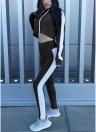 Women Sport Set Crop Hoodies Long Sleeves Splicing Side Tights Set