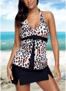 Sexy Women Halter Leopard Flyaway Tankini Top e Sólido Skirted Swimsuit