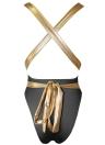 Plunge V Contrast Straps Bandage Offener Rücken Sexy Badeanzug
