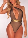 Plunge V Contrast Straps Bandage Open Back Sexy Costume intero