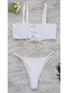 Frauen Schnür Bikini Set Low Waist Solid Color Brief Cut