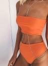 Bikini senza spalline Solid Top con vita alta e bikini da donna