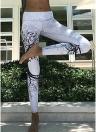 Спорт Йога Дерево Печать Широкий пояс Stretchy Женские брюки