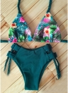 Floral Print Halter Braided Bandage Padded Hollow Out Women Bikini Set