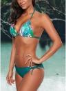 Floral Print Halfter geflochtener Verband gepolsterte aushöhlen Frauen Bikini Set
