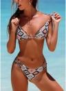 Frauen Bikini Set Geometrische Print Bandage Strappy Zweiteilige Bademode Badeanzug