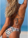 Conjunto de Biquíni Mulheres Gravata de Impressão Geométrica Strappy Two Piece Swimwear Swimsuit