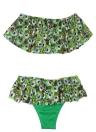 Frauen-Feder-Druck-Bikini-Set Rüschenbesatz Low-Waist-Kurzschnitt