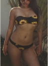 Sonnenblume Print Bandeau Padded Push-Up Sexy Frauen Bikini Set