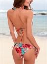 Bunter Blumendruck Dreieck Halter Verband Lace Up Rüschen Bikini Set