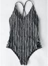 Striped Print V-Ausschnitt aushöhlen Taille Cross Straps gepolsterte Frauen Badeanzug