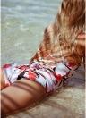 Frauen Badeanzug Blumendruck Open Back selbst binden Cross Straps gepolsterte Vintage